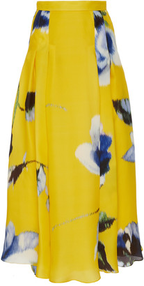 Carolina Herrera Pleated Floral-Print Silk-Satin Maxi Skirt