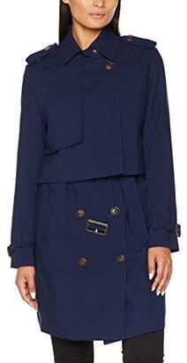 Benetton Women's Trench Coat (Dark Blue 252), (Size: 46)