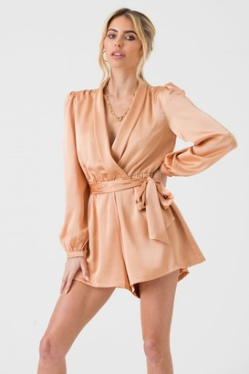 LIENA Satin Wrap Playsuit with Tie in Champagne