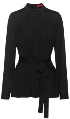 HUGO BOSS Long Sleeved Belted Top In Crepe Georgette - Black