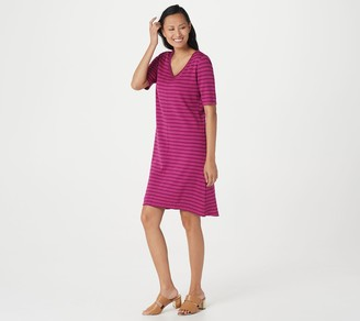 Isaac Mizrahi Live! Essentials Striped Elbow Sleeve Dress