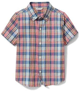 Janie and Jack Plaid Linen Top (Toddler/Little Kids/Big Kids) (Multi) Boy's Clothing