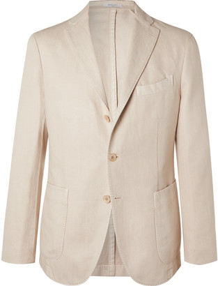 Boglioli Slim-fit Micro-herringbone Cotton And Linen-blend Blazer - Neutrals