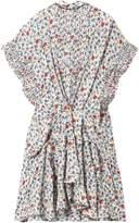 Chloé Ruffle-trimmed Pleated Floral-print Georgette Mini Dress