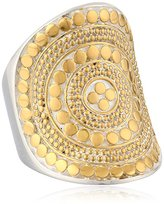 Anna Beck Designs Gili Classic Lombok Long 18k Gold-Plated Beaded Saddle Ring, Size 6