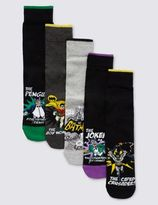 Marks and Spencer 5 Pairs of Cotton Rich BatmanTM Socks