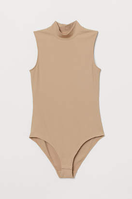 H&M Mock-turtleneck Bodysuit - Beige