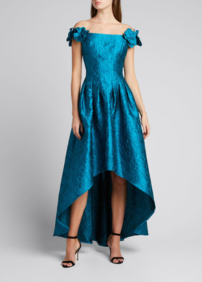 Rickie Freeman For Teri Jon Off-Shoulder High-Low Jacquard Gown