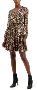 INC International Concepts Inc Printed Surplice Mini Dress, Created for Macy's