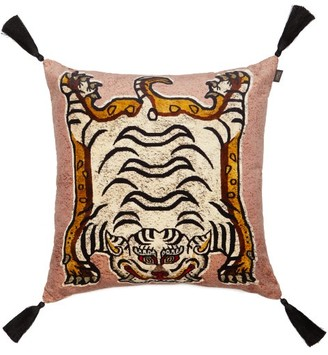House of Hackney Tigris-print Large Velvet Cushion - Pink