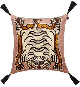 House of Hackney Tigris-print Large Velvet Cushion - Pink