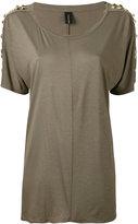 Alexandre Vauthier eyelets & studs T-shirt - women - Viscose/Silk/Brass - 36
