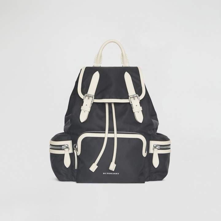 Burberry The Medium Rucksack in Technical Nylon and Leather, Black
