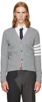 Thom Browne Grey Four Bar Trompe Loeil V-neck Cardigan