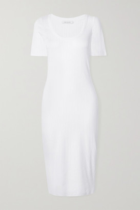 Ninety Percent Ribbed Stretch-organic Cotton Midi Dress - White