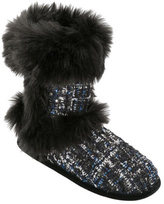 Dearfoams Women's Sequined Tweed Boot Slipper
