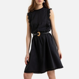 La Redoute Collections Ruffled Sleeveless Mini Dress with Lace Details