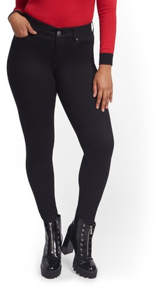 New York & Co. Mya Curvy High-Waisted Sculpting No Gap Super-Skinny Jeans - Black