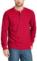 Chaps Big & Tall Classic-Fit Striped Waffle-Weave Henley