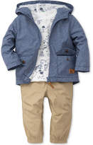 Little Me 3-Pc. Hooded Chambray Jacket, Map-Print T-Shirt & Pants Set, Baby Boys