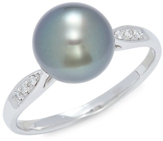 Tara Pearls 14K White Gold, 9-10MM Tahitian Pearl Diamond Ring