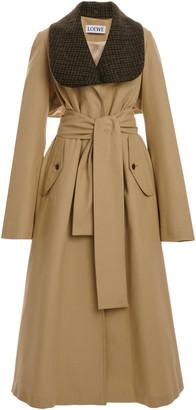 Loewe Check-Detailed Cotton Gabardine Trench Coat
