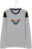 Armani Junior logo print long sleeve T-shirt - kids - Cotton - 14 yrs