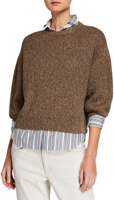 Brunello Cucinelli Shimmer Ribbed Wool-Cashmere Sweater