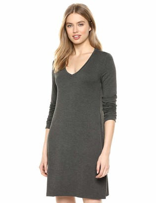 Amazon Brand - Daily Ritual Women's Jersey Long-Sleeve V-Neck T-Shirt Dress