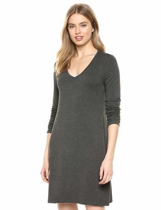 Daily Ritual Jersey Long-Sleeve V-Neck T-Shirt Dress Casual