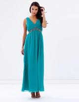 Little Mistress Embellished Waist Maxi Dress