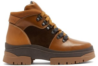 See by Chloe Panelled Leather And Suede Hiking Boots - Tan