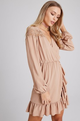Girls On Film Dahlia Beige Lace And Frill Wrap Dress