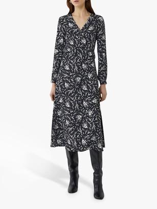 Warehouse Sprig Print Midi Dress, Black