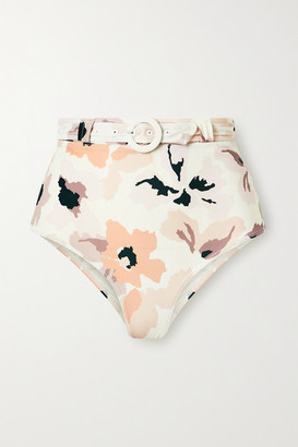 Peony Swimwear Soiree Belted Floral-print Bikini Briefs - White