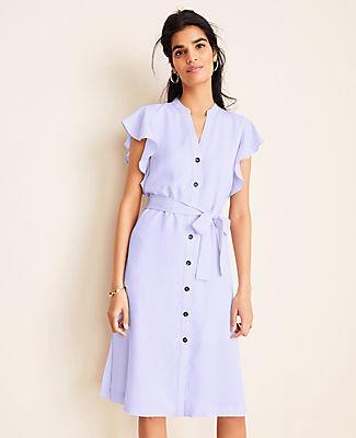 Ann Taylor Ruffle Belted Shirtdress