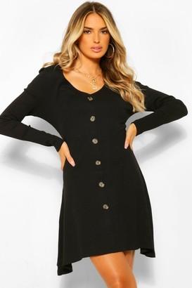 boohoo Rib Long Sleeve Button Detail Skater Dress