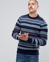 Barbour Jumper With Fair Isle Pattern In Navy