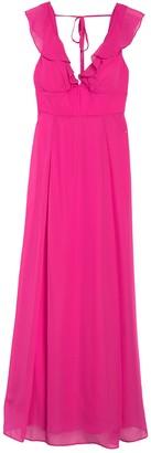 Jump Solid V-Neck Ruffled Chiffon Maxi Dress
