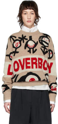Charles Jeffrey Loverboy Beige Logo Gender Symbols Sweater