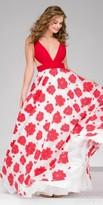 Jovani Plunging V-neck Illusion Floral Print Prom Dress