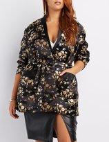 Charlotte Russe Plus Size Satin Brocade Longline Blazer