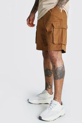 boohoo Mens Brown Elastic Waist Cargo Short, Brown