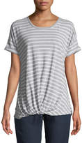 Allen Allen Striped Crewneck Twist-Front Tee