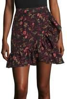 Scripted Faux Wrap Ruffle Mini Skirt