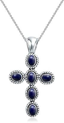 Bling Jewelry Sterling Silver Bezel Set Blue Lapis Lazuli Rope Cross Pendant Necklace