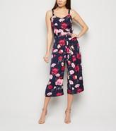 New Look Mela Floral Wide Leg Culotte Jumpsuit