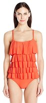 Karen Kane Women's Bright Poppy Bali Tiered Maillot One Piece Swimsuit