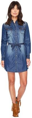 Wrangler Western Denim Shirt Dress (Dark Denim) Women's Dress