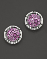 John Hardy Bamboo Sterling Silver Petite Round Stud Earrings with Amethyst